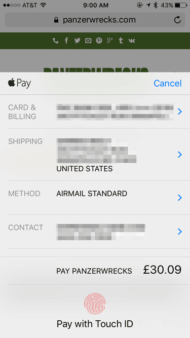 Apple Pay payment sheet